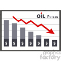royalty free rf clipart illustration board graph chart for petroleum or oil decline dollar prices vector illustration isolated on white background