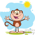 royalty free rf clipart illustration happy welcoming monkey cartoon character standing upright with open arms in the sun vector illustration isolated on white gif, png, jpg, eps, svg, pdf