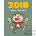 9077 royalty free rf clipart illustration greedy monkey cartoon character jumping with cash money and dollar eyes vector illustration new year greeting card