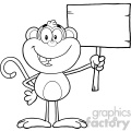 royalty free rf clipart illustration black and white smiling monkey cartoon character holding up a blank wood sign vector illustration isolated on white