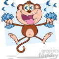 royalty free rf clipart illustration rich monkey cartoon character jumping with cash money and euro eyes vector illustration with bacground isolated on white gif, png, jpg, eps, svg, pdf