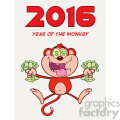 royalty free rf clipart illustration rich red monkey cartoon character jumping with cash money and dollar eyes vector illustration new year greeting card