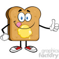royalty free rf clipart illustration toast bread slice cartoon character licking his lips with giving a thumb up vector illustration isolated on white background gif, png, jpg, eps, svg, pdf