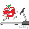 royalty free rf clipart illustration healthy red apple cartoon character running on a treadmill vector illustration isolated on white