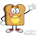 royalty free rf clipart illustration happy toast bread cartoon character licking his lips with butter waving vector illustration isolated on white background