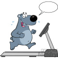 royalty free rf clipart illustration smiling gray bear cartoon character running on a treadmill with speech bubble vector illustration isolated on white