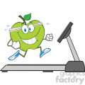 royalty free rf clipart illustration healthy green apple cartoon character running on a treadmill vector illustration isolated on white