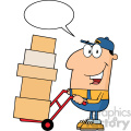 royalty free rf clipart illustration delivery man cartoon character using a dolly to move boxes with speech bubble vector illustration with isolated on white