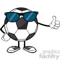 soccer ball faceless cartoon mascot character with sunglasses giving a thumb up vector illustration isolated on white background