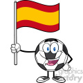 happy soccer ball cartoon mascot character holding a flag of spain vector illustration isolated on white background