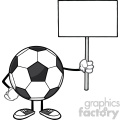 soccer ball faceless cartoon mascot character holding a blank sign vector illustration isolated on white background