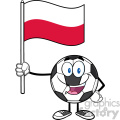 happy soccer ball cartoon mascot character holding a flag of poland vector illustration isolated on white background