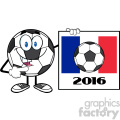 9731 pointing soccer ball cartoon mascot character pointing to a sign with france flag and 2016 year vector illustration isolated on white background