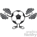 soccer ball faceless cartoon mascot character working out with dumbbells vector illustration isolated on white background