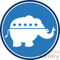 republican elephant blue circle label vector illustration flat design style isolated on white  gif, png, jpg, eps, svg, pdf