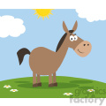 smiling donkey cartoon character vector illustration flat design style