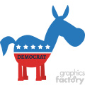 red white and blue democrat donkey vector illustration flat design style isolated on white with text  gif, png, jpg, eps, svg, pdf