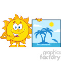 10131 talking sun cartoon mascot character pointing to a poster sign with tropical island vector illustration isolated on white background