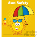 cute sun cartoon mascot character holding a umbrella and bottle of sun block cream vector illustration with yellow haftone background and text sun safety