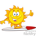 surfer sun cartoon mascot character over surf showing thumb up vector illustration isolated on white background