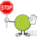 tennis ball faceless cartoon mascot character gesturing and holding a stop sign vector illustration isolated on white background gif, png, jpg, eps, svg, pdf