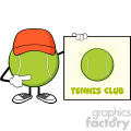 tennis ball faceless cartoon mascot character with hat pointing to a sign tennis club vector illustration isolated on white background gif, png, jpg, eps, svg, pdf