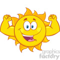 happy sun cartoon mascot character showing muscle arms vector illustration isolated on white background
