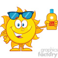 10149 cute sun cartoon mascot character with sunglasses holding a bottle of sun block cream vith text vector illustration isolated on white background