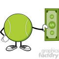 tennis ball faceless cartoon mascot character holding a dollar bill vector illustration isolated on white background