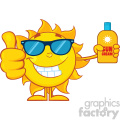 smiling summer sun cartoon mascot character holding a bottle of sun block cream showing thumb up vector illustration isolated on white background