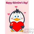 cute penguin cartoon character holding valentine love heart. vector illustration greeting card
