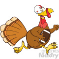football turkey bird cartoon character running in thanksgiving super bowl vector illustration isolated on white