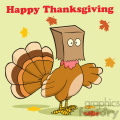 happy thanksgiving greeting with turkey bird hiding under a bag vector illustration with background and text