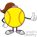 softball girl faceless cartoon mascot character giving a thumb up vector illustration isolated on white background