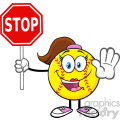 cute softball girl cartoon mascot character gesturing and holding a stop sign vector illustration isolated on white background gif, png, jpg, eps, svg, pdf
