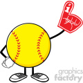softball faceless cartoon mascot character wearing a foam finger vector illustration isolated on white background gif, png, jpg, eps, svg, pdf