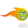 flaming mad tennis ball cartoon character vector illustration isolated on white  gif, png, jpg, eps, svg, pdf