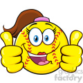 cute softball girl cartoon character giving a double thumbs up vector illustration isolated on white background gif, png, jpg, eps, svg, pdf