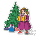 girl with christmas gift sticker