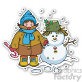 christmas boy with snowman sticker  gif, png, jpg, eps, svg, pdf