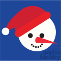 snowman head with santa hat on blue square icon vector art