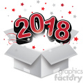 red 2018 new year exploding from a box vector art  gif, png, jpg, eps, svg, pdf