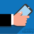 hand holding a cell phone flat design vector art blue background