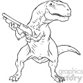 trex with a gun character vector book illustration
