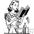 vintage women cooking from a cookbook vector vintage 1900 vector art GF