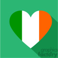 irish heart with stripes like the flag flat vector design GF