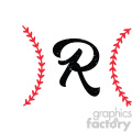 baseball monogram letter r design svg cut file vector