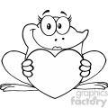 10671 Royalty Free RF Clipart Black And White Frog Female Cartoon Mascot Character Holding A Heart Vector Illustration