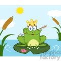 10675 royalty free rf clipart princess frog cartoon mascot character with crown and arrow perched on a pond lily pad in lake vector with background gif, png, jpg, eps, svg, pdf
