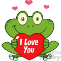10656 Royalty Free RF Clipart Cute Frog Cartoon Mascot Character Holding A Valentine Love Heart Vector With Text I love You